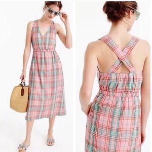 J Crew | Cross-Back Plaid Midi Dress